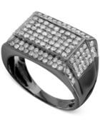 Men's Gray Diamond Pave Ring (1-1/2 Ct. T.w.) In Sterling Silver With Gray Rhodium Plating