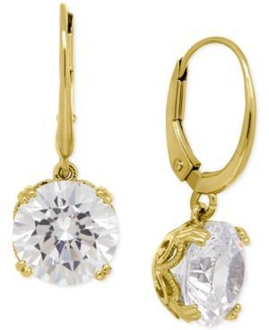Cubic Zirconia Leverback Earrings In 14k Gold