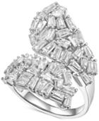 Cubic Zirconia Baguette Cluster Bypass Ring In Sterling Silver