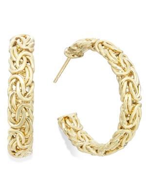 Byzantine Hoop Earrings In Italian 14k Gold