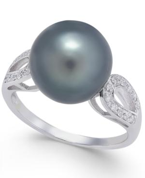 Cultured Tahitian Pearl (11mm) & Diamond (1/10 Ct. T.w.) Ring In 14k White Gold