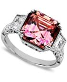 Arabella Sterling Silver Ring, Pink And White Swarovski Zirconia Princess Cut Ring (10-1/10 Ct. T.w.)
