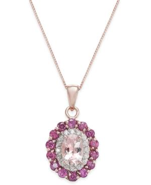 Multi-gemstone (1-7/8 Ct. T.w.) & Diamond (1/6 Ct. T.w.) Pendant Necklace In 14k Rose Gold