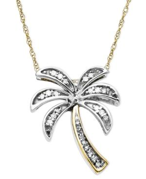 Diamond Pendant, 14k Gold And Sterling Silver Diamond Palm Tree (1/10 Ct. T.w.)