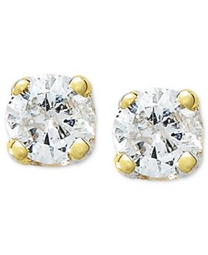10k Gold Earrings, Round-cut Diamond Accent Stud Earrings
