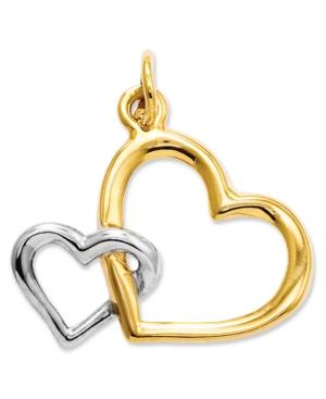 14k Gold And Sterling Silver Charm, Double Heart Charm