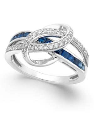 Sapphire (1 Ct. T.w.) And Diamond (1/5 Ct. T.w.) Swirl Ring In 14k White Gold