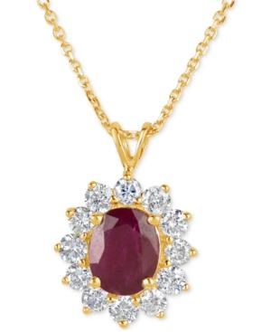 Ruby (2-1/5 Ct. T.w.) And Diamond (1 Ct. T.w.) Pendant Necklace In 14k Gold