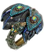 Betsey Johnson Gold-tone Multi-stone Peacock Hinged Bangle Bracelet