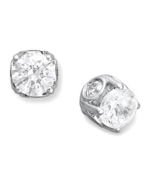 Diamond Earrings, 14k White Gold Diamond Spiral Bezel Stud Earrings (1/2 Ct. T.w.)