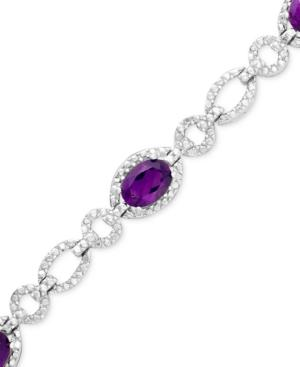 Sterling Silver Bracelet, Amethyst (4 Ct. T.w.) And Diamond Accent