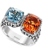 Effy Citrine (2-3/4 Ct. T.w.) And Blue Topaz (2-1/4 Ct. T.w.) Statement Ring In Sterling Silver