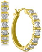 Diamond Hoop Earrings (1/10 Ct. T.w.) In 14k Gold-plated Sterling Silver