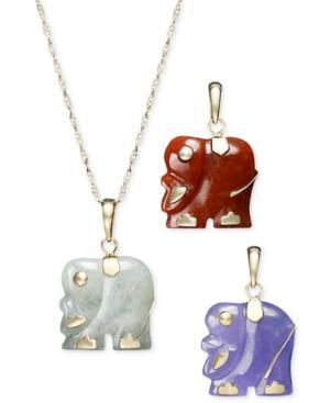 14k Gold Necklace Set, Dyed Jade Elephant Pendant Set
