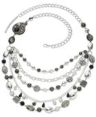 Style&co. Necklace, Silver-tone Beaded Multi-row Necklace