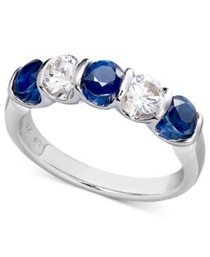 Sterling Silver Ring, Blue And White Sapphire Channel Set Ring (1-3/4 Ct. T.w.)