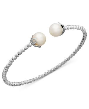 Pearl Bracelet, Sterling Silver Cultured Freshwater Pearl Sparkle Bangle