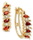 Victoria Townsend 18k Gold Over Sterling Silver Earrings, Garnet (3/4 Ct. T.w.) And Diamond Accent Hoop Earrings