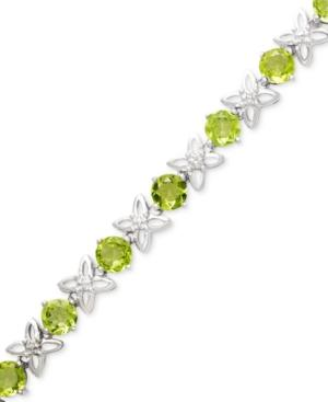 Sterling Silver Bracelet, Peridot (8-1/2 Ct. T.w.) And Diamond Accent