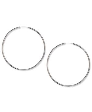 Touch Of Silver Earrings, Silver Plated Thin Hoop Earrings