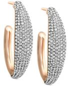 Swarovski Rose Gold-tone Large Crystal Pave Hoop Earrings