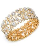 Guess Bracelet, Gold-tone Crystal Bubble Stretch Bracelet