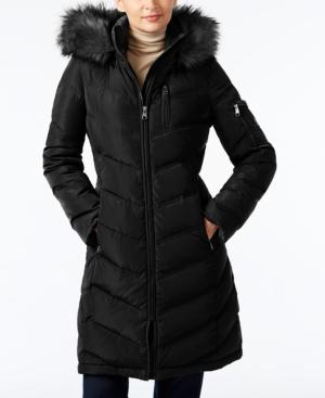 Calvin Klein Petite Hooded Faux-fur-trim Long Down Puffer Coat