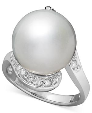 14k White Gold Ring, Cultured South Sea Pearl (13mm) And Diamond (1/3 Ct. T.w.) Ring
