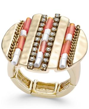 Thalia Sodi Gold-tone Beaded And Pave Hammered Disc Stretch Ring, Only At Macy's