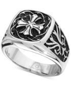 Men's Celtic Cross Ring In Stainless Steel & Black Ion-plate