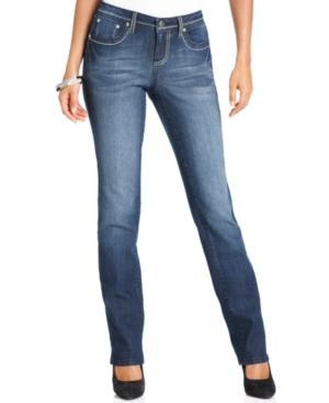 Earl Jeans Petite Jeans, Straight-leg Studded, Rinse Wash
