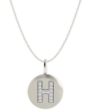 14k White Gold Necklace, Diamond Accent Letter H Disk Pendant