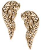 Betsey Johnson Gold-tone Crystal Angel Wing Stud Earrings