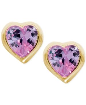 Children's Purple Cubic Zirconia Heart Earrings In 14k Gold