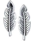 Unwritten Feather Drop Earrings In Sterling Silver