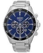 Seiko Men's Solar Chronograph Stainless Steel Bracelet Watch 44mm Ssc445