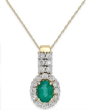 Emerald (1 Ct. T.w.) And Diamond (1/4 Ct. T.w.) Pendant Necklace In 14k Gold