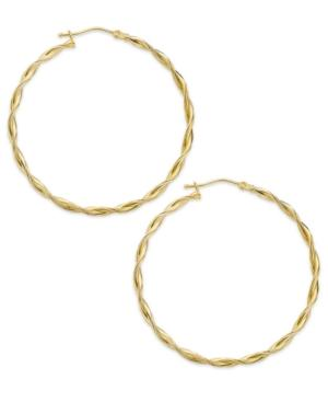14k Gold Earrings, Polished Twist Hoop Earrings
