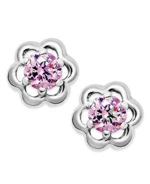Children's Pink Cubic Zirconia Flower Stud Earrings In Sterling Silver