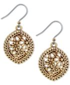 Lucky Brand Gold-tone Flower And Lace Drop Earrings