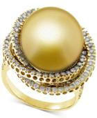 Cultured Golden South Sea Pearl (13mm) & Diamond (1 Ct. T.w.) Ring In 14k Gold