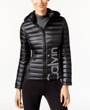 Calvin Klein Logo Packable Down Hooded Puffer Coat