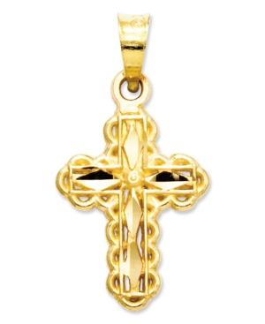 14k Gold Charm, Small Cross Charm