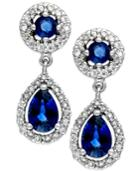Sapphire (1-1/3 Ct. T.w.) And Diamond (3/8 Ct. T.w.) Drop Earrings In 14k White Gold
