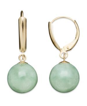 14k Gold Earrings, Jade Bead Drop Earrings