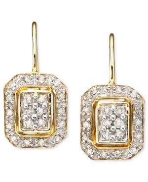 Diamond Earrings, 14k Gold Square Diamond (1/4 Ct. T.w.)