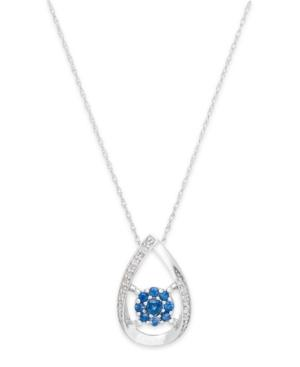 Sapphire (1/4 Ct. T.w.) And Diamond Accent Pendant Necklace In 14k White Gold