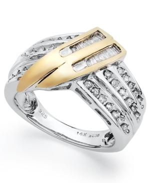Diamond Ring, Sterling Silver And 14k Gold Diamond Twist Ring (1/2 Ct. T.w.)
