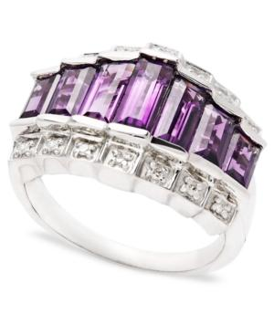 Sterling Silver Ring, Amethyst (3 Ct. T.w.) And Diamond Accent