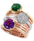 Effy Emerald (1-1/2 Ct. T.w.) Diamond (1/4 Ct. T.w.) And Amethyst (2 Ct. T.w.) Ring In 14k Yellow, White And Rose Gold